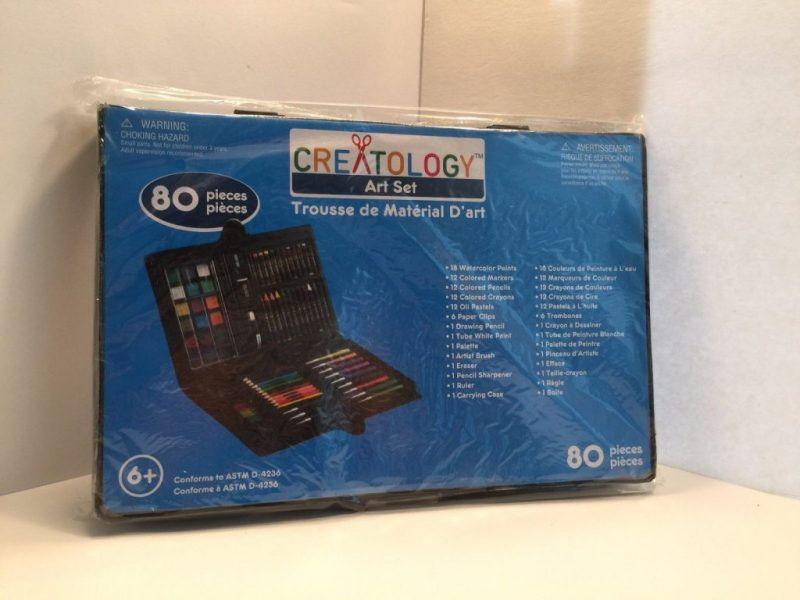BRAND NEW!! CREATOLOGY ART SET 80 PIECES PAINT,MARKERS,PENCILS,CARYONS