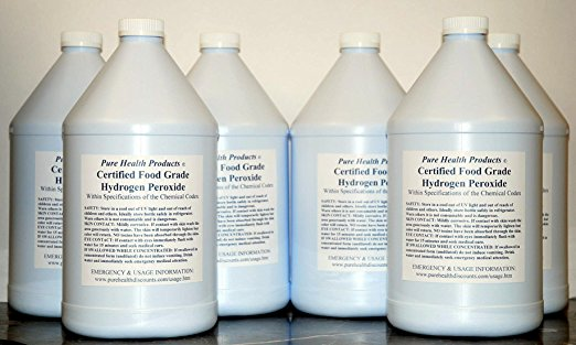 6 Gallons of 35% Food Grade Hydrogen Peroxide. Same as found in The One Minute Cure. Shipped super fast. This is a GREAT price for the REAL thing! Only $25 per gallon.